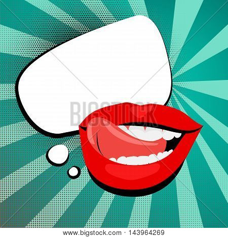 Vector colored icons sexy shiny red lips open mouth tongue teeth. White cloud rectangle rounded corners background vintage retro message style pop art. Illustration hand drawn