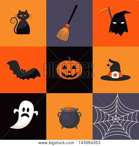 set of Halloween holiday icons. vector illustration