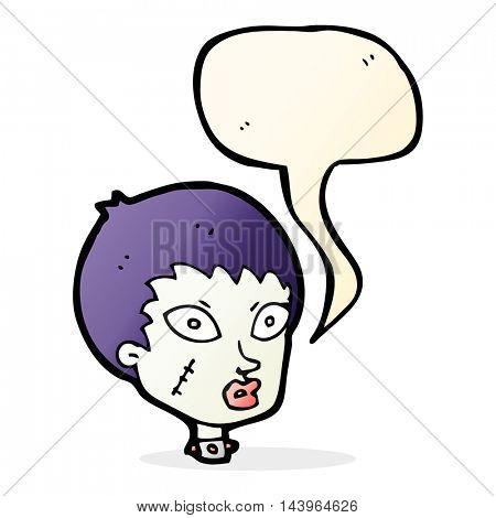 cartoon female zombie head with speech bubble