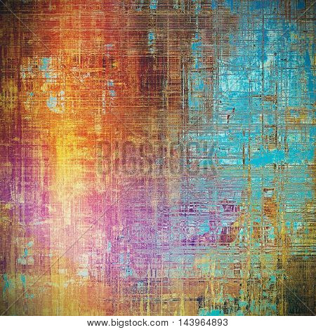 Highly detailed scratched texture, aged grungy background. Vintage style composition with different color patterns: blue; red (orange); yellow (beige); brown; pink; cyan