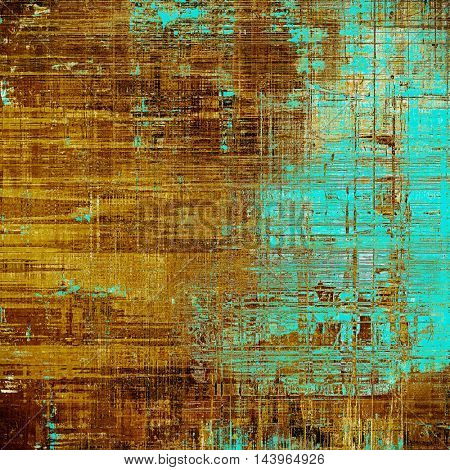 Old style decorative composition or designed vintage template with textured grunge elements and different color patterns: blue; yellow (beige); brown; cyan