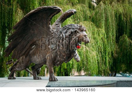 Winged Lion Memorial in Prague Czech Republic. Monument is expression of British community's lasting gratitude to 2, 500 Czechoslovak airmen who served with RAF between 1940-1945 for freedom of Europe.