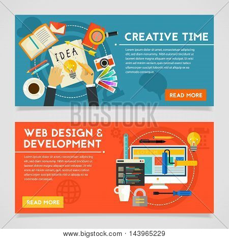 Creative Time and Webdesign and Development concept banners. Horizontal composition, vector illustrations