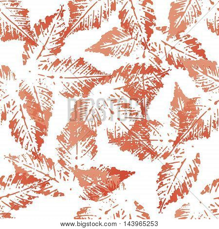 Red chestnut leaves imprints seamless pattern on white background