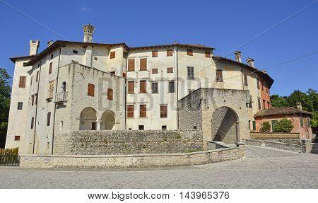 Valvasone Italy - July 19th 2016. The 13th century castle in the north east Italian town of Valvasone Friuli Venezia Giulia.