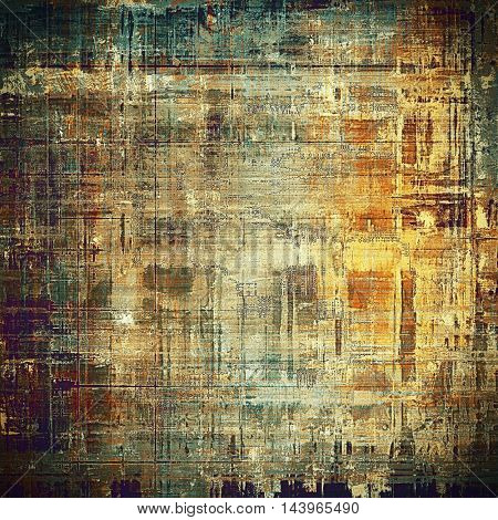 Art grunge background or vintage style texture with retro graphic elements and different color patterns: gray; green; blue; purple (violet); yellow (beige); brown