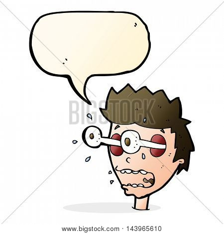 cartoon surprised man with eyes popping out with speech bubble