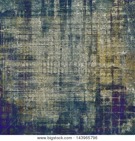 Retro style abstract background, aged graphic texture with different color patterns: gray; blue; purple (violet); yellow (beige); brown; black