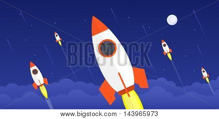 picture of flying rockets with moon and stars on background flat style illustration new startup new product or service launch concept