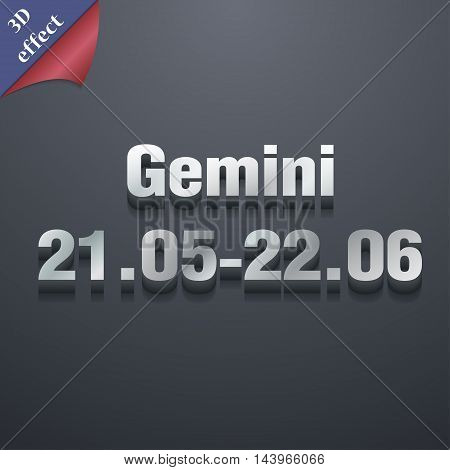 Gemini Icon Symbol. 3D Style. Trendy, Modern Design With Space For Your Text Vector
