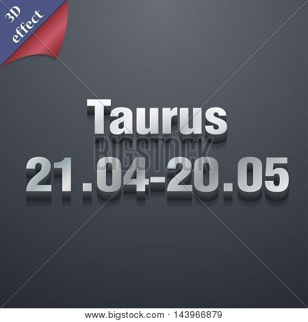Taurus Icon Symbol. 3D Style. Trendy, Modern Design With Space For Your Text Vector