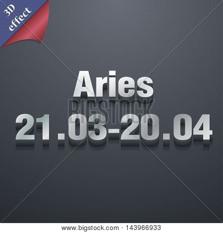 Decorative Zodiac Aries Icon Symbol. 3D Style. Trendy, Modern Design With Space For Your Text Vector