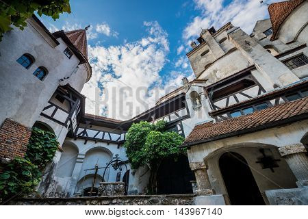 Courtyard of Bran Castle known as Dracula's Castle near Bran in Romania