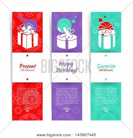 Set of stylish banners with present background with gift box. Vector illustration with splash design
