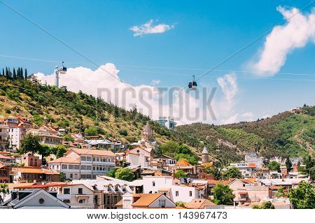 Scenic View Of Tbilisi Old Town, Georgia. Beautiful Architecture In Historic District. Cableway