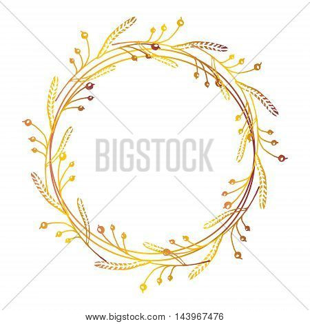 Hand drawn autumn floral wreath with space to your text on white background