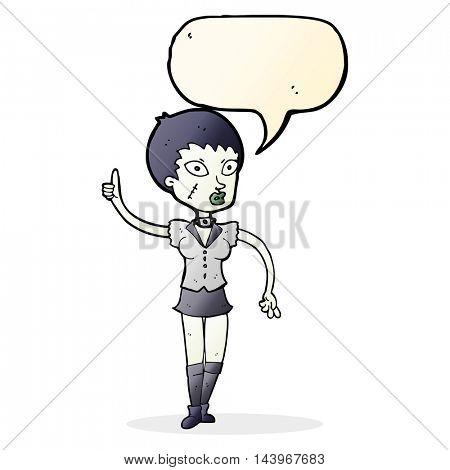 cartoon halloween girl with speech bubble