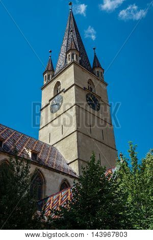 Tower of Saint Mary Lutheran Cathedral in Sibiu city in Romania