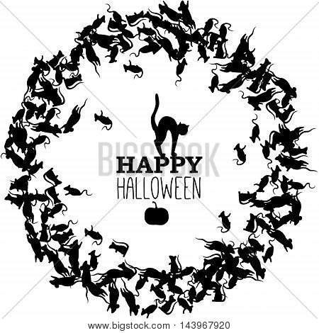 Happy Halloween banner with wreath of black rats cat and pumpkin. Vector leaflet.