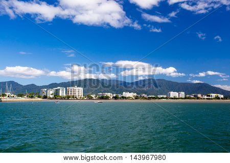 The famous Cairns waterfront and Chinaman Creek on a sunny winter's day in Queensland, Australia