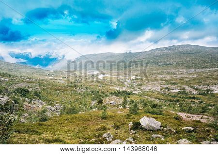 Amazing Nature OfThe Norwegian Mountains Landscape. Nature Of Norway. Travel And Hiking Concept