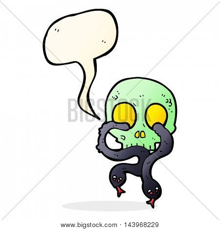 cartoon skull with snakes with speech bubble