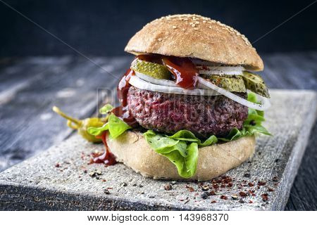 Barbecue Hamburger with Salad Leaf and Ketchup