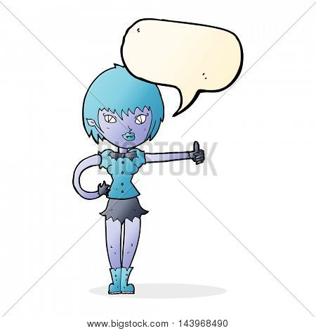 cartoon vampire girl giving thumbs up sign with speech bubble