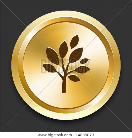 Tree on Golden Internet Button Original Illustration