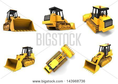 Set Excavator On A White Uniform Background. Backhoe Loader. 3D Illustration.