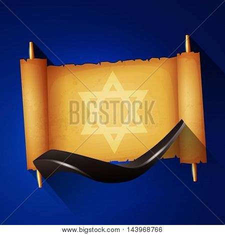 Jewish holiday Yom kippur background with torah and shofar.
