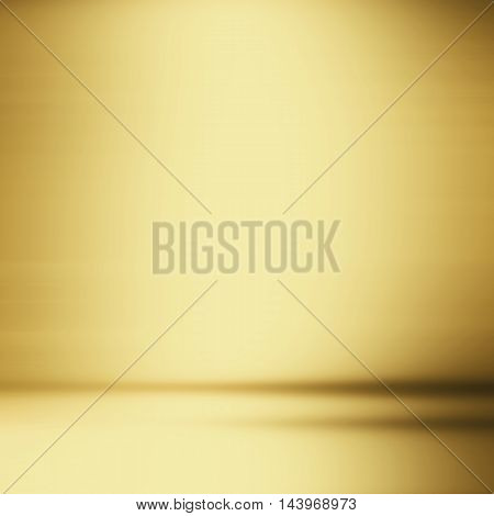 abstract gold background empty room interior with shiny gold hue wall floor reflection illustration 3d box product display showcase blank stage or studio