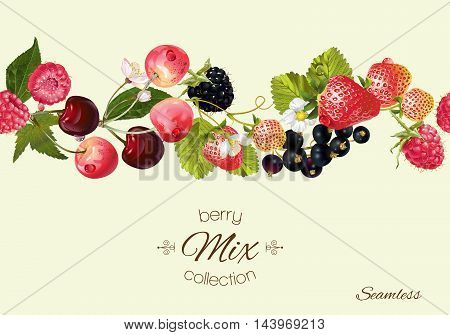 Vector berry seamless horizontal border. Background design for juice, tea, natural cosmetics, bakery with berry filling, farmers market, grocery , health care products. Best for packaging design.