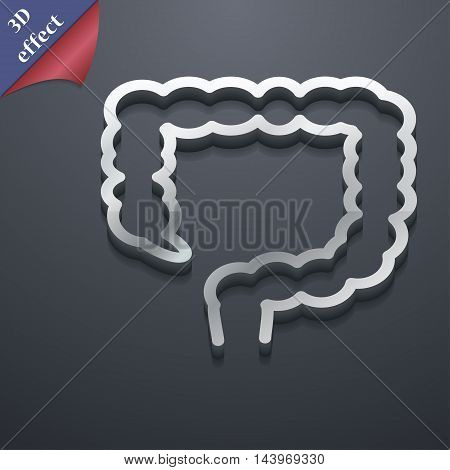 Large Intestine Icon Symbol. 3D Style. Trendy, Modern Design With Space For Your Text Vector