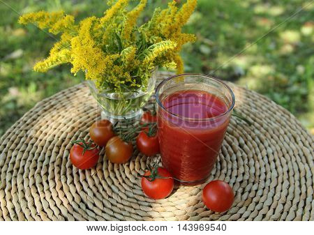 tomato juice in a glass on a table in a garden with fresh tomatoes