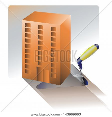 Housing construction. The construction of housing. The symbol for a construction company, icon for website, promotional products.