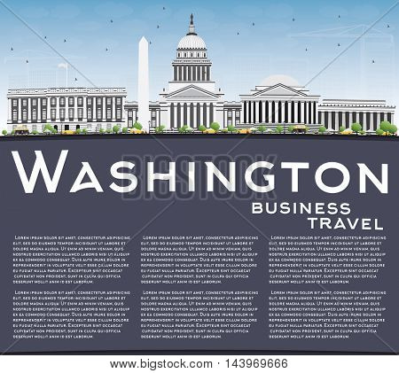 Washington DC Skyline with Gray Buildings and Copy Space. Vector Illustration. Business Travel and Tourism Concept with Historic Buildings. Image for Presentation Banner Placard and Web Site.