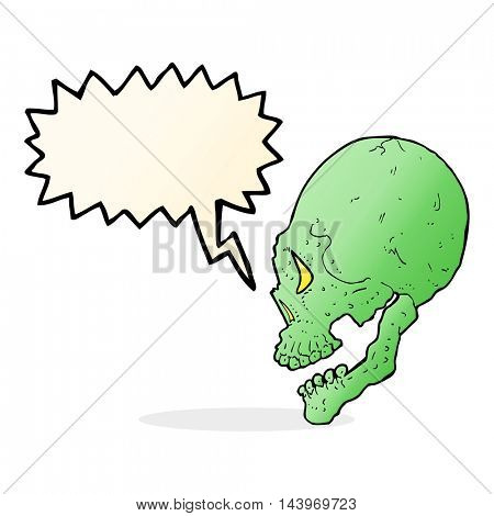 spooky skull illustration with speech bubble