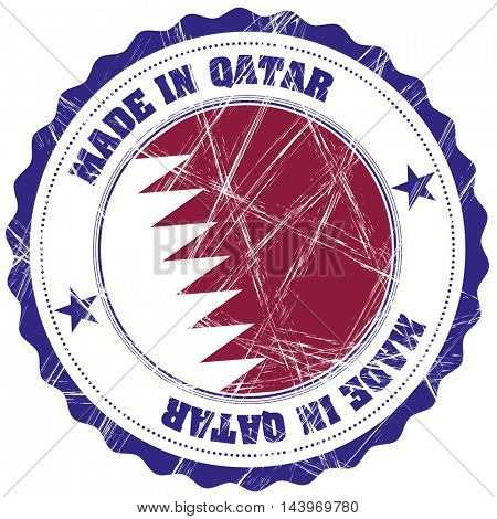 Made in Qatar grunge rubber stamp with flag