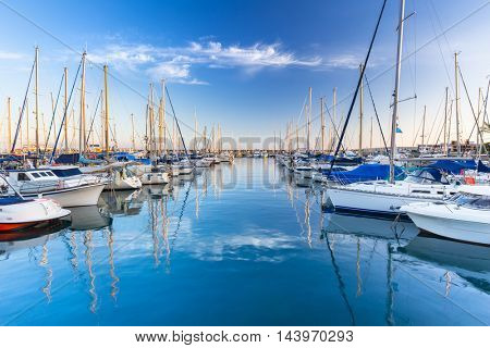 Marina with yachts in Puerto de Mogan, a small fishing port on Gran Canaria, Spain.
