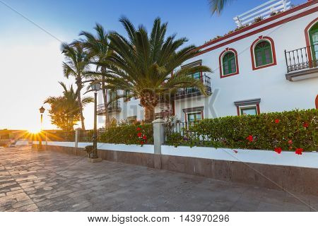 Architecture of Puerto de Mogan, a small fishing port on Gran Canaria, Spain.