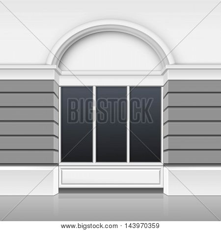 Vector Classic Shop Boutique Building Store Front with Glass Windows Showcase and Place for Name Isolated on White Background