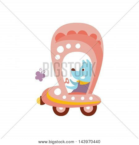 Dog Driving Pink Car Stylized Fantastic Illustration Childish Simplified Funny Flat Drawing On White Background