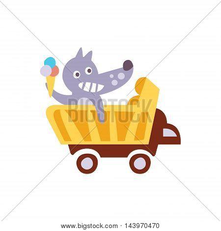 Wolf Riding A Wagon Holding Ice-cream Stylized Fantastic Illustration Childish Simplified Funny Flat Drawing On White Background