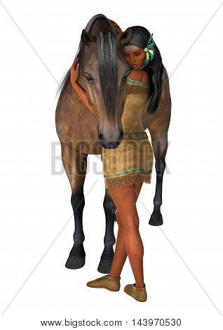 3D rendering of a native American woman and a horse isolated on white background