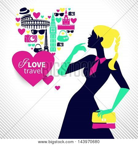 Beautiful shopping girl dreams about traveling. Heart shape with travel icons