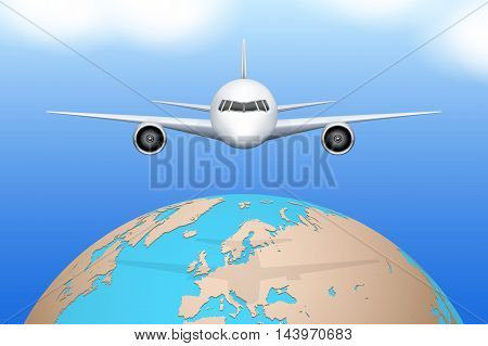 Front view of Plane flies over globe. Civil Aircraft. Public or private plane. For business and travel design. Vector Illustration isolated on background.