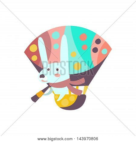 Bunny Riding Hot Air Balloon Stylized Fantastic Illustration Childish Simplified Funny Flat Drawing On White Background