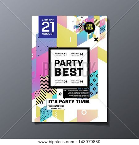 Party poster, trendy geometric pattern