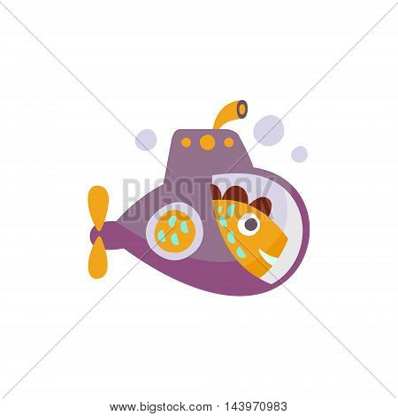 Fish On Submarine Stylized Fantastic Illustration Childish Simplified Funny Flat Drawing On White Background